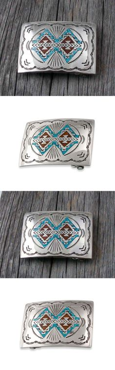 Other Artisan Jewelry 12519: Navajo Vintage Nickel Silver Turquoise Coral Chip Inlay Buckle -> BUY IT NOW ONLY: $53.1 on eBay!