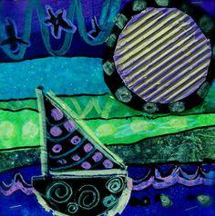 Da Vinci's Wings: 2nd Grade Warm and Cool Sailboat Silhouettes Square1 Art Project