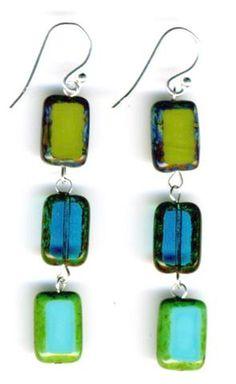Glass Tile Earrings, Sterling Silver in Tide Pool Mix Colors - Stefanie Wolf
