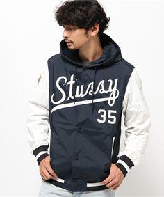 STUSSY MENS(ステューシーメンズ)のSquad Varsity III Jacket (ナイロンジャケット)|ネイビー