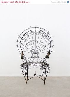 SALE antique wrought iron chair / peacock chair by 86home on Etsy, $1020.00