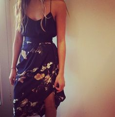 Summer Outfit - Floral Maxi Dress - Belt I would put a thick strapped crop top/vest top underneath this dress not a fan of spaghetti straps but this dress is really cute.