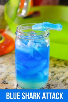 Blue Shark Attack Cocktail #SharkWeek Perfect drink to have while watching Shark Week.