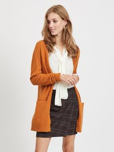Stella Burnt Orange Textured Cotton V Neck Cardigan