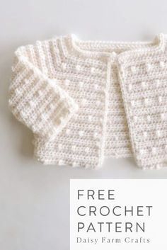 Free Crochet Pattern – Scattered Dots Baby Sweater – Crochet Pattern and ideas Crochet Baby Jacket, Crochet Baby Sweaters, Crochet Cardigan Pattern, Crochet Baby Clothes, Baby Knitting, Free Knitting, Crochet Baby Stuff, Knitted Baby Cardigan, Crochet Baby Sandals