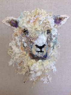 Art in Textiles Cotswold Sheep #14 Hand-stitched Collage