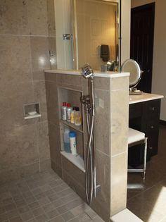 Keep the toiletries out of sight w/ built in shelves in shower- Bathroom Renovation contemporary