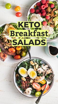 Recipes Snacks Videos My favorite way to start the day is with Keto Breakfast Salads. The possibilities are endless! Choose your favorite greens, proteins, and lots of healthy fats, and start the day with tons of nutrients and clean energy! Healthy Salad Recipes, Healthy Breakfast Recipes, Low Carb Recipes, Diet Recipes, Vegetarian Salad, Superfood Recipes, Protein Recipes, Clean Breakfast, Breakfast Salad