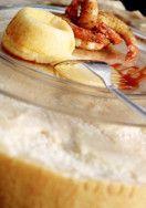 Cuore caldo di Parmigiano con code di gamberi e riduzione di vino rosso #try
