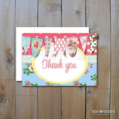 Printable DIY Thank you Cards / Pink Shabby by FancyShmancyNotes, $5.00