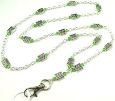 CLEARANCE ID Badge Lanyard with Green Crystals by byBrendaElaine