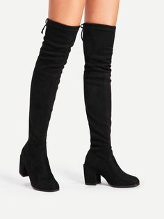 Shop Tie Back Over Knee Block Heeled Boots online. SheIn offers Tie Back Over Knee Block Heeled Boots & more to fit your fashionable needs. Black High Boots, Thigh High Boots, High Heel Boots, Over The Knee Boots, Heeled Boots, Shoe Boots, Boots With Heels, Women's Shoes, Boot Heels