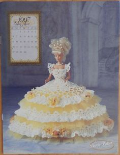 Annie Attic 1997 Royal Ballgowns Barbie Fashion April Crochet Bed Doll Pattern #AnniesAttic