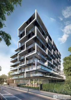 """A New Iconic Club Building on the Roof """"MERIDIAN Beauty Apartment"""", Australian Dollar … - Architectural Style Building Elevation, Building Facade, Building Design, Mix Use Building, Facade Architecture, Beautiful Architecture, Residential Architecture, Facade Design, Exterior Design"""