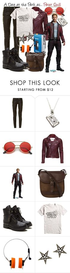 """A Day at the Park as... Peter Quill/Star-Lord"" by disneygirl22 ❤ liked on Polyvore featuring Balmain, ZeroUV, VIPARO, Sony, DUBARRY, Marvel, London Road, disney, disneybound and DisneyWorld"