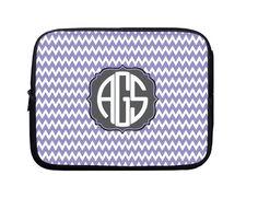 Laptop Sleeve, Laptop Case, Laptop Bag Purple Chevron Black Monogram