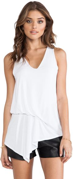Shop for krisa Asymmetrical Pleated Blouse in White at REVOLVE. Free day shipping and returns, 30 day price match guarantee. Revolve Clothing, Basic Tank Top, Fashion Outfits, Tank Tops, Blouse, How To Wear, Shopping, Women, Style