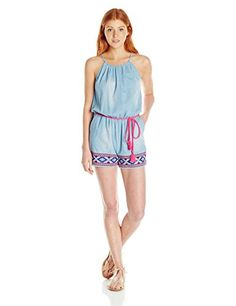 Juniors High Neck Romper with Embroidery At Hem