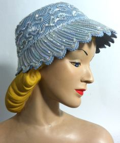 Scalloped Crystal Blue Felted Wool Hat w/ Sequins circa 1960s