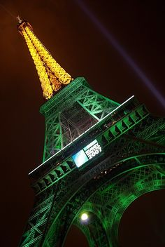 Eiffel Tower during the Rugby World Cup, 2007 - I was actually there for that!  The French really love their rugby!