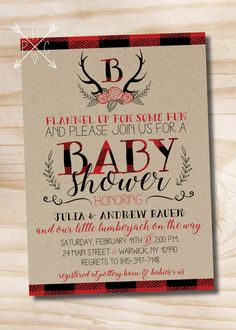 Lumberjack Baby Shower Invitation, Buffalo Plaid Baby Shower Invitation, Rustic Antler Baby Shower Invitation - Digital or Printed Invites  >>> WHATS INCLUDED <<< Your purchase includes either; -Digital only design that you can print on your own or send as an Evite! OR -One of our printed options, price varies based on quantity selected. Please note our printing prices include single sided printing and standard 7 business day shipping to anywhere in the U.S. You receive 5x7 ...