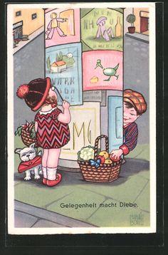 """carte postale ancienne: CPA Illustrateur Margret Boriss: """"Gelegenheit macht Diebe"""""""
