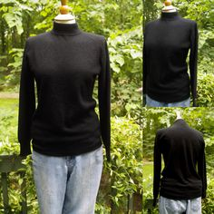 1990s Black Mock Turtleneck Cashmere Sweater from Priscella, Size S, Made in Hong Kong by HiddenTreasureHunter on Etsy