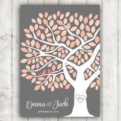 Guest Book Tree - Wedding Guestbook Poster for 125 Guests in Coral Pink and Grey on Etsy, $54.00