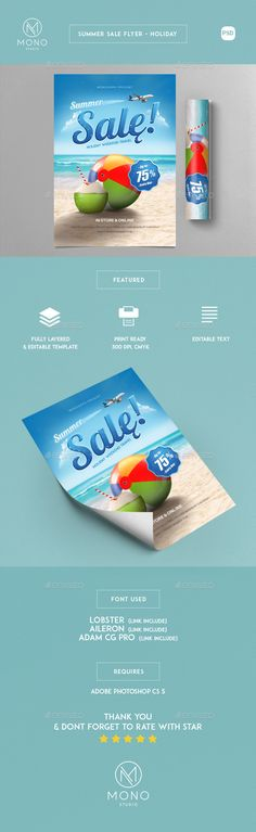 Summer Leaves Flyers Template Psd Vector Eps  Awesome Summer