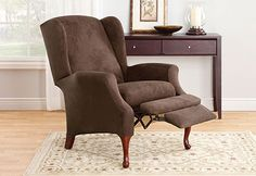 Sure Fit Slipcovers Stretch Suede Wing Recliner - wing recliner. Nice idea to dress up or change ugly furniture
