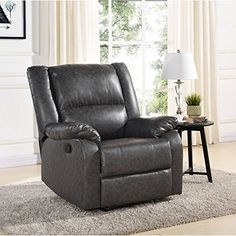 Relax in comfort with the Mainstays Faux Leather Recliner. This recliner is built with a heavy-duty metal and wood frame for lasting stability. The Mainstays Faux Leather Recliner features overstuffed arms and easy to clean fabric. A simple cable release mechanism is located within a convenient... more details available at https://furniture.bestselleroutlets.com/children-furniture/chairs-seats/recliners/product-review-for-mainstays-faux-leather-recliner-grey-dimension-34-25-x