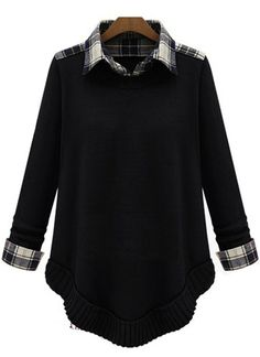 Black Contrast Plaid Lapel Long Sleeve Loose Sweater US$31.97