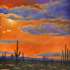 Saguaro Sunset by Johnathan Harris. Limited edition giclee print of a desert landscape with setting sun and silhouetted Saguaro cactus in the Arizona desert. Limited edition of 50.