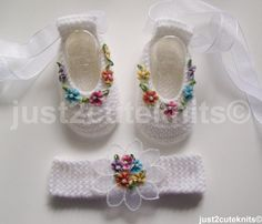 Hand Knitted Baby Girls Ballet Booties and by just2cuteknits