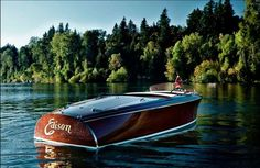 Solid Plank Mahogany Plug-in Electric Runabout fashioned after Chris Craft Speed Boats, Power Boats, Classic Wooden Boats, Classic Boat, Old Boats, Sail Boats, Runabout Boat, Wooden Boat Plans, Vintage Boats