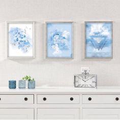 Obraz Triangles 30x40cm ice blue&silver    #obraz#trojuholniky#abstraktny#obyvacka#kuchyna#jedalen#detskeizba Triangles, Double Vanity, Gallery Wall, Painting, Interior Inspiration, Moose, Blue, Decoration, Home Decor