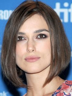 A mono-length bob (think Uma Thurman's character in Pulp Fiction) can be a little severe on square face shapes. Ask your stylist for Keira Knightley's take on the look.