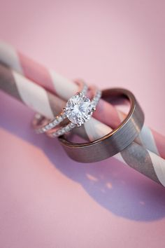 rings on pink and gray striped straws | Images by Kaysha Weiner Photographer