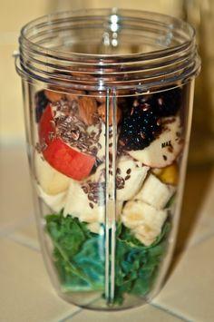Kale,  Bananas,  Apples,  Blackberries,  Almonds,  Flaxseeds, Add Water & Blend.