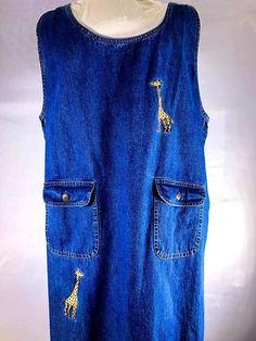 Agapo 3XL Women's Denim Jumper with Giraffe Embroidering. | eBay!