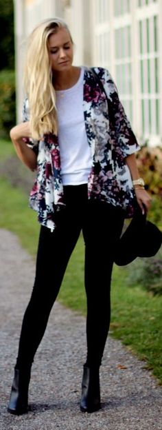 White Multi Floral Jacket by Fanny Staaf
