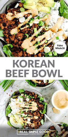 Healthy 20-Minute Korean Beef Bowl Health Dinner, Eating Healthy, Healthy Meal Prep, Healthy Dinners For Families, Easy Healthy Weeknight Dinners, Simple Healthy Dinner Recipes, Simple Healthy Recipes, Healthy Korean Recipes, Healthy Dinner For One