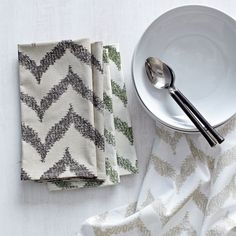 Set of 4 Ikat Zigzag Printed Napkin Set 20.00| west elm