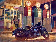Official Website of Fine Artist David Uhl. Collections include motorcycle art, aviation art, automotive art, pin-up art. Motorcycle Posters, Motorcycle Art, Bike Art, Baggers, David Mann Art, Harley Davidson Art, Automotive Art, Aviation Art, Retro
