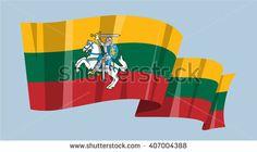 National flag vector editable banner ribbon country world Lithuania Chase Europe rider horseman - stock vector
