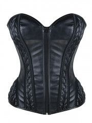 Wholesale Black Zipper Leather Overbust Corset Bustier Tops