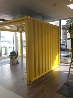 Shipping Container meeting pod on a floor location Shipping Container Design, Container House Design, Shipping Containers, Container Cafe, Interior And Exterior, Interior Design, Led Pendant Lights, Outdoor Living Areas, Modern Landscaping