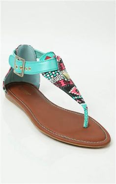 tribal print sandal with large buckle and multicolor bead ** freaking beautiful