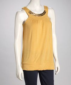 Take a look at this Mustard Tank by Papillon Imports on #zulily today!