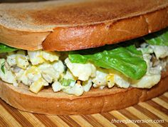 """An """"egg salad""""sandwich made fromcauliflower? Yep, it's a thing! And a delicious thing, too. Not exactly like the original but an interestin..."""